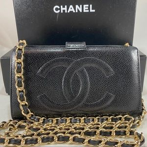 ❌SOLD❌Vintage CHANEL CC Caviar Wallet on Chain